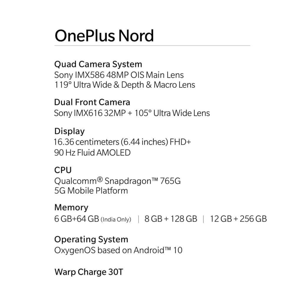 OnePlus Nord specs