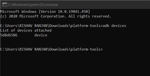 Run adb devices command.