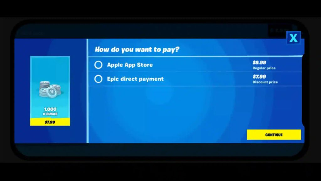 Fortnite game payment options.