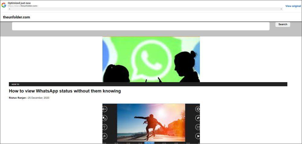 Google web light rendering The Unfolder website