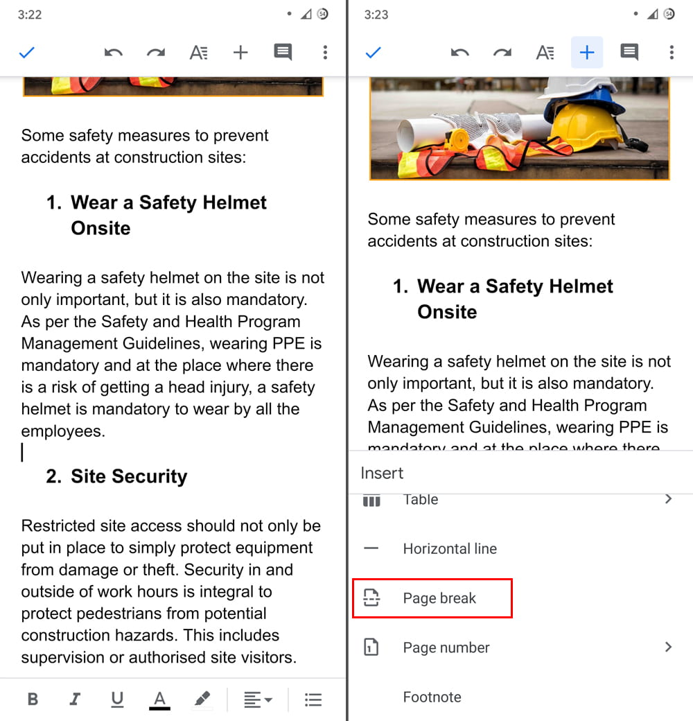 How to add a page in Google Docs on your Phone