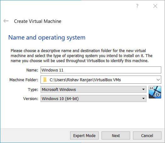 Name your virtual machine