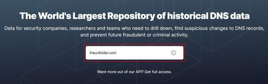 Enter domain name and hit 'Enter'