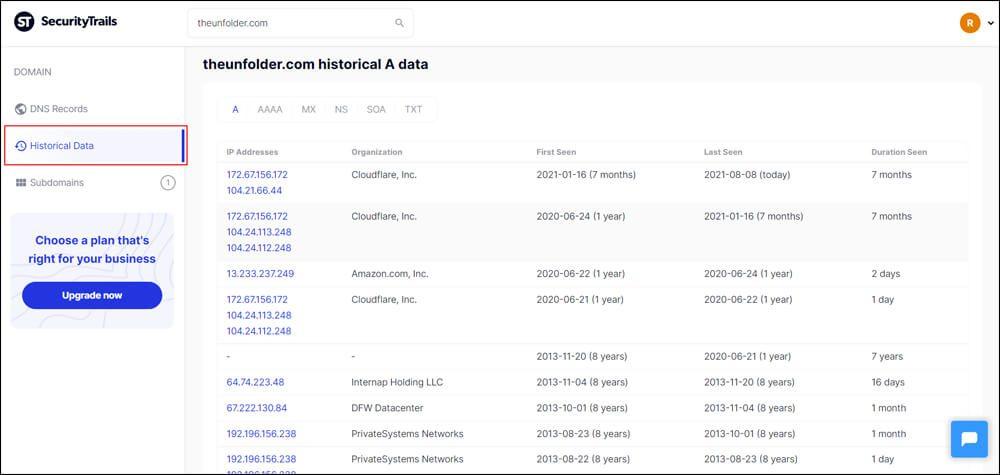 Past DNS records of theunfolder.com