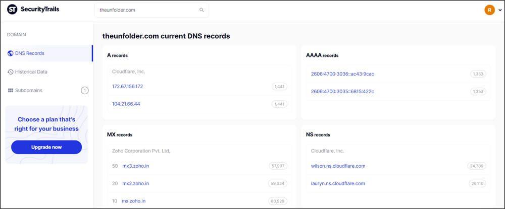 Present DNS records of theunfolder.com