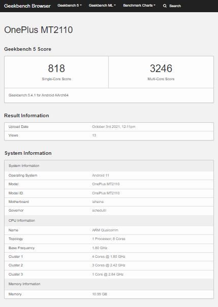 OnePlus 9RT Geekbench Listing